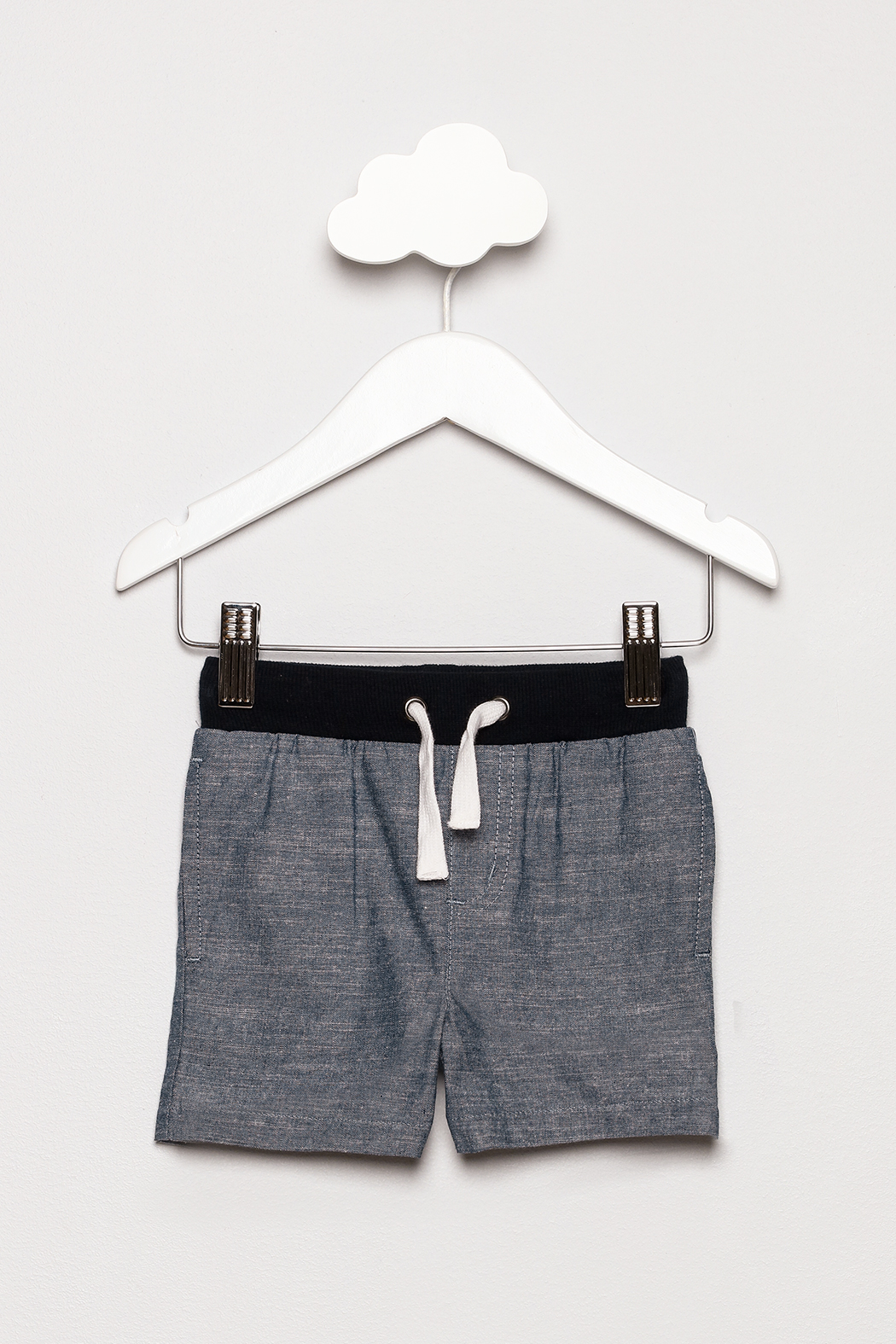 Andy & Evan Chambray Ribbed Shorts - Front Cropped Image