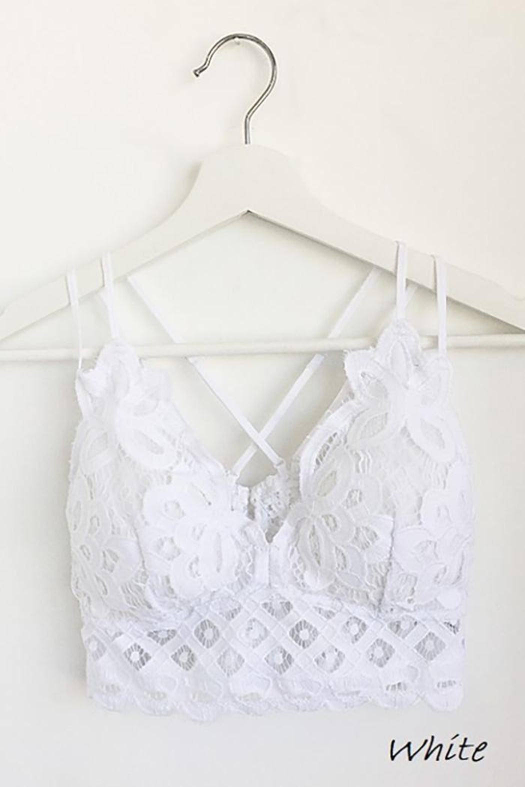 Anemone Adjustable Strap Crochet Lace Bralette - Front Cropped Image