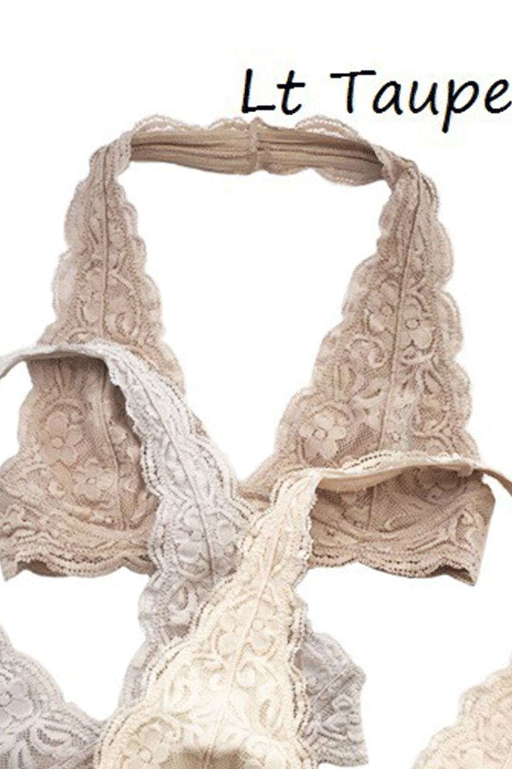 Anemone Lace Halter Bralette - Front Cropped Image