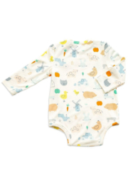 Angel Dear Little Farm Print Bodysuit - Front full body