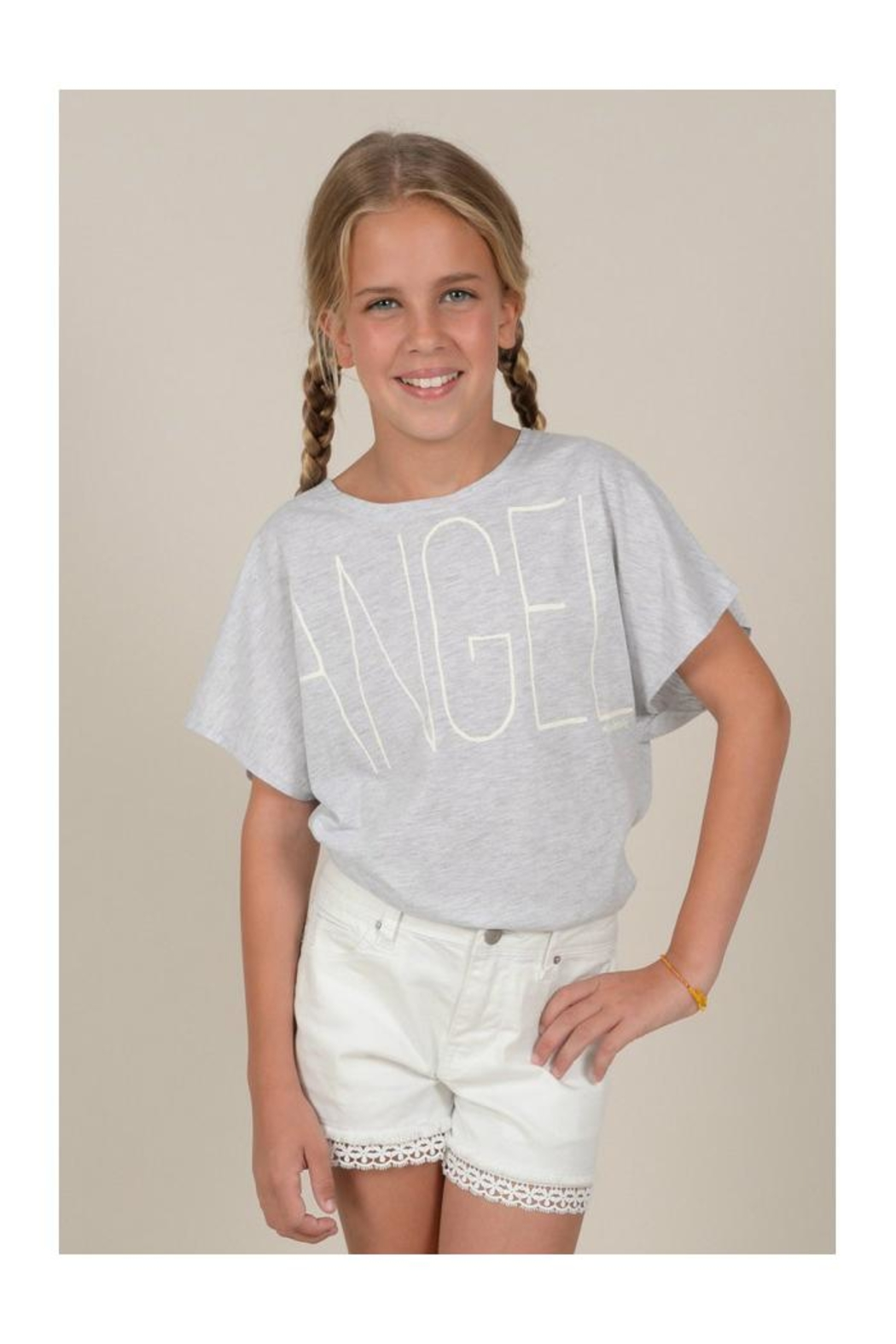 Mini Molly Angel Graphic Tee - Front Full Image