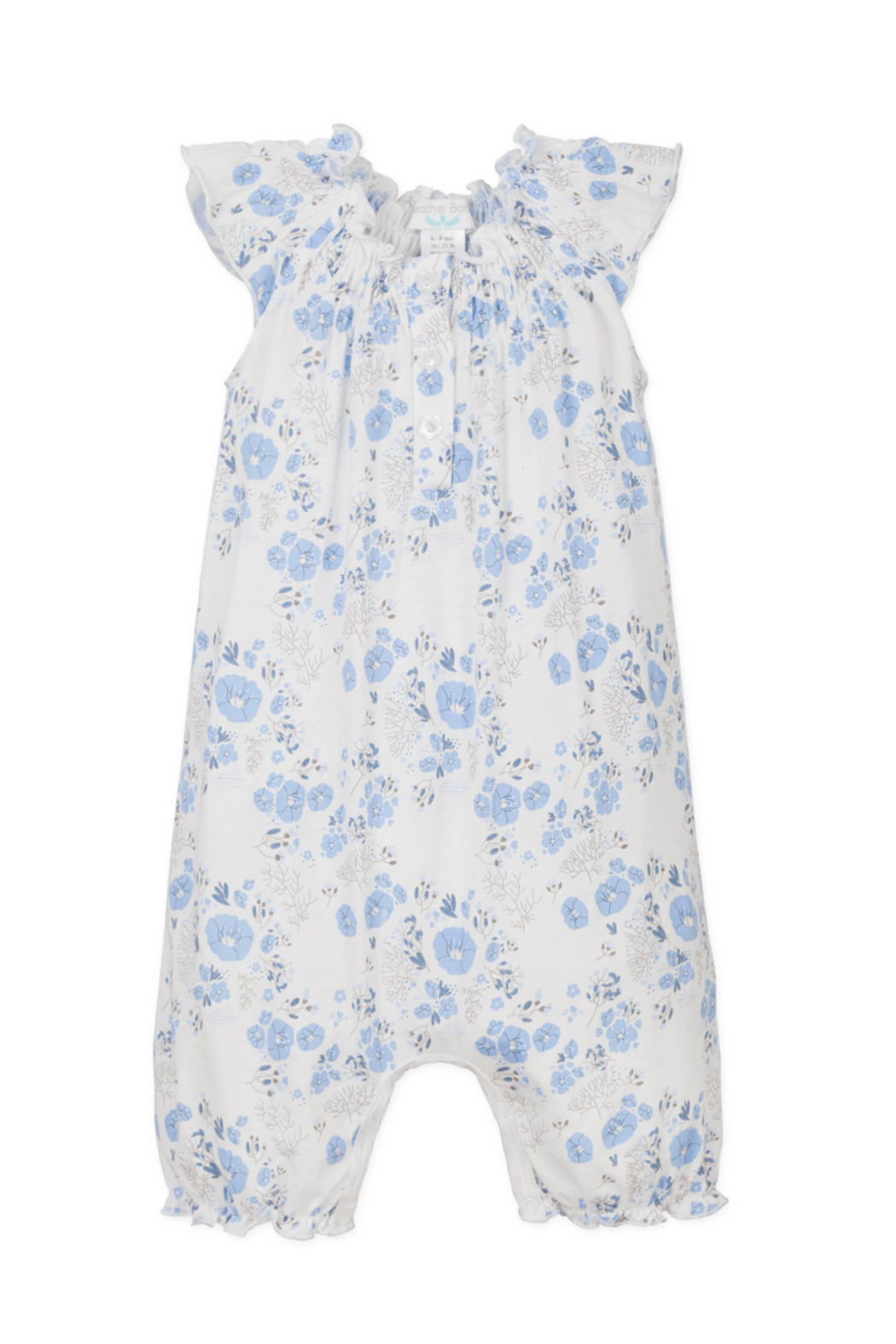Feather Baby Angel Sleeve Romper Maria Blue - Main Image