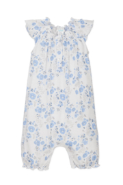 Feather Baby Angel Sleeve Romper Maria Blue - Front cropped