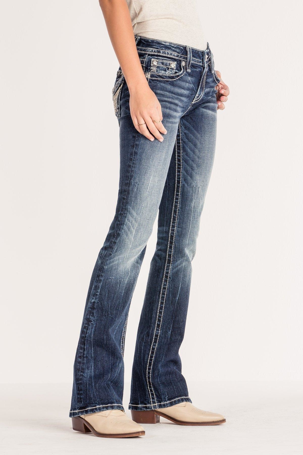 Miss Me Angel Wing Bootcut - Front Full Image