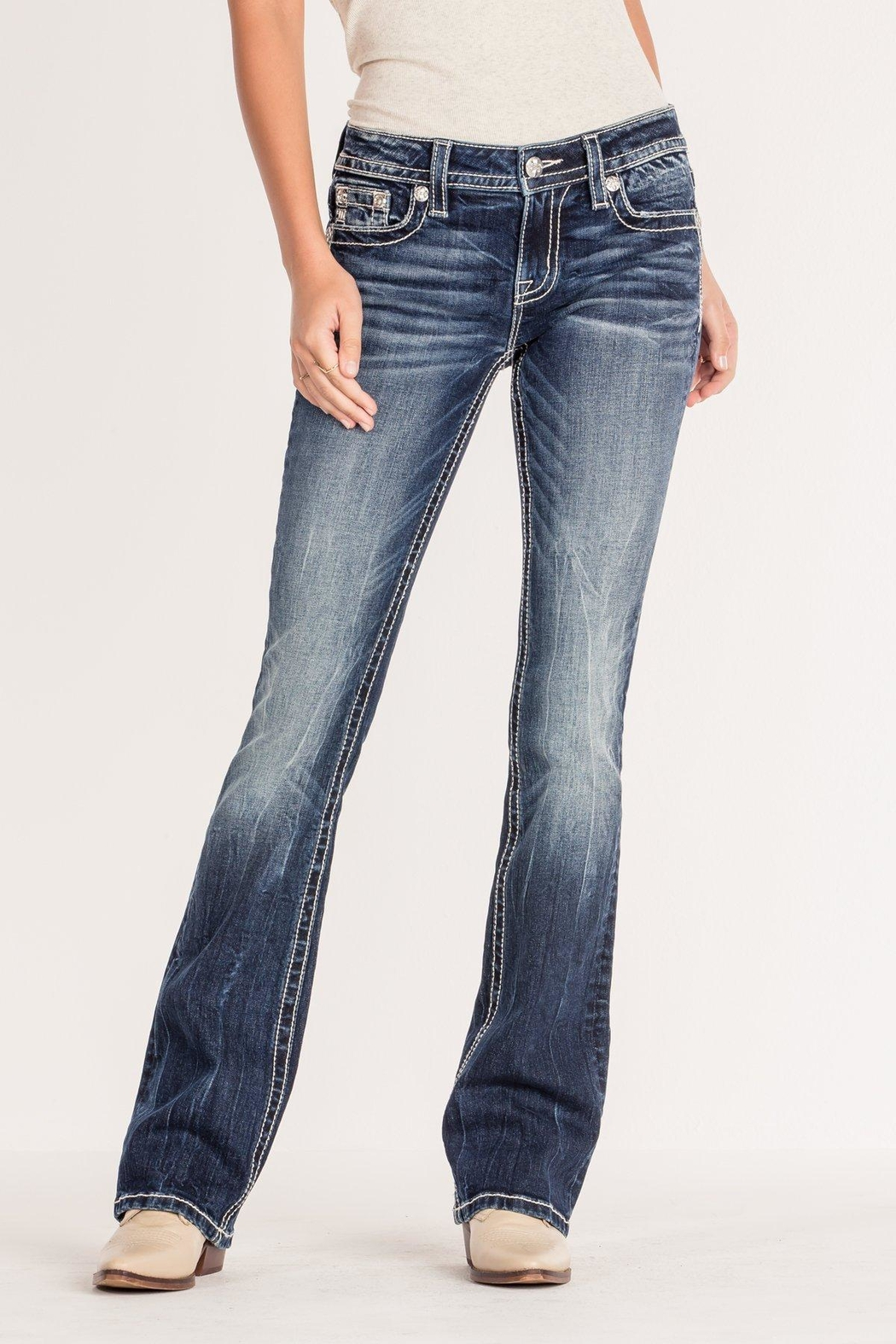 Miss Me Angel Wing Bootcut - Side Cropped Image