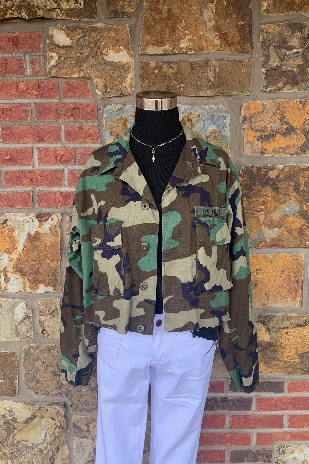 Soulstice Angel Wings Cropped Camo Army Jacket - Front Full Image