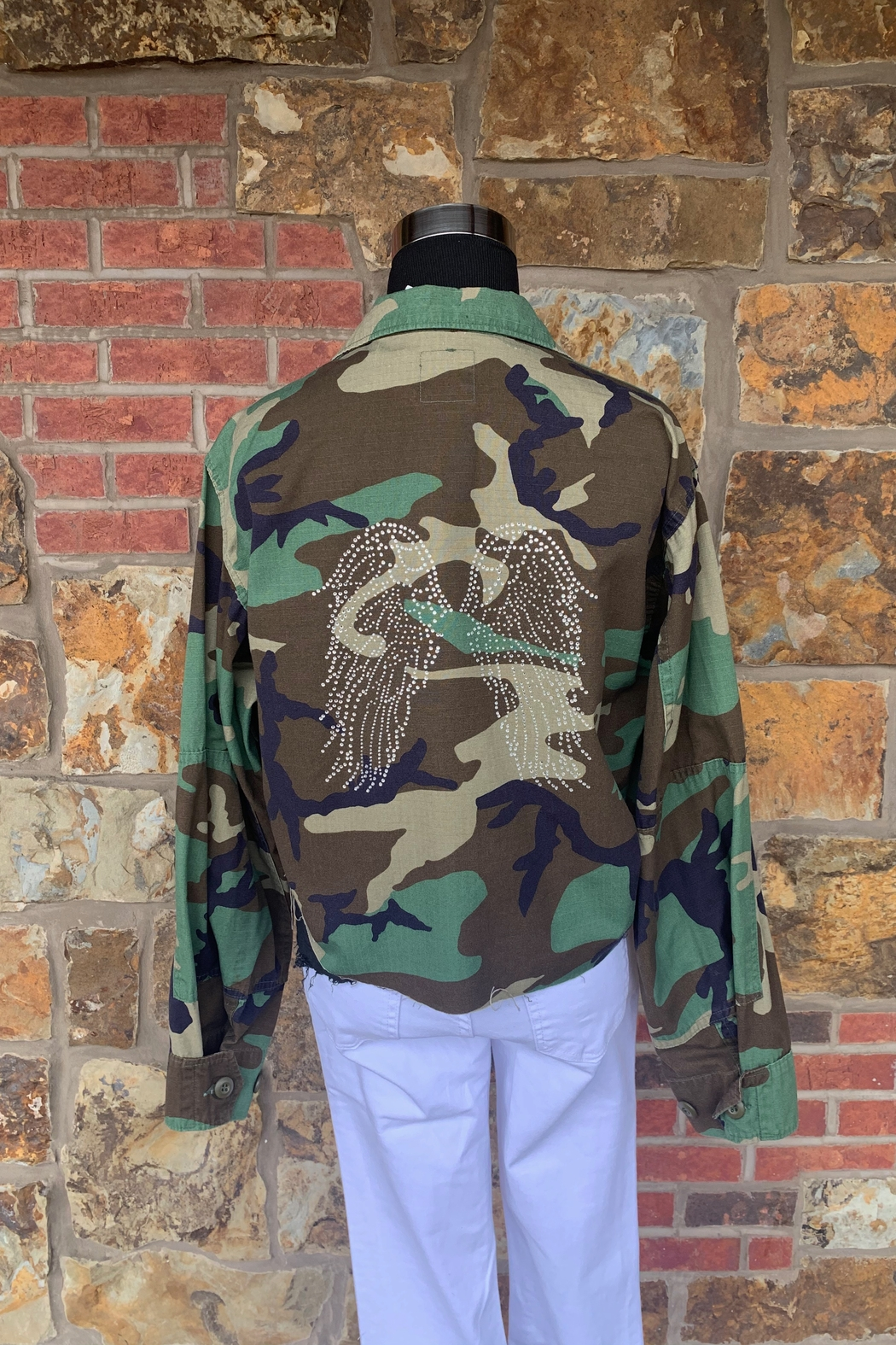Soulstice Angel Wings Cropped Camo Army Jacket - Main Image