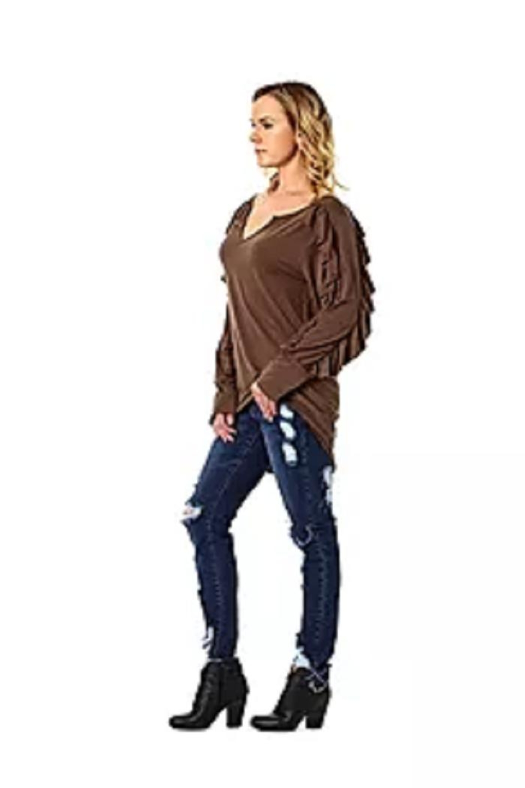 Angel & Premium Brown Ruffle-Sleeve Top - Main Image