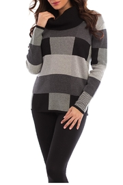 Angel Apparel Geometric Plaid Cowl Sweater - Front cropped