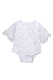 Elsa Bella Baby Angela Lace Ruffle Sleeve Romper - Front cropped