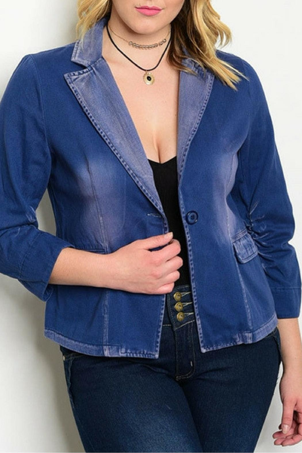 Angela Collection Denim Blazer - Front Cropped Image