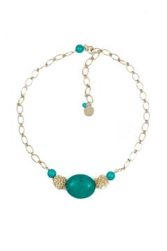 Shoptiques Product: Woven-Pearl Turquoise Necklace