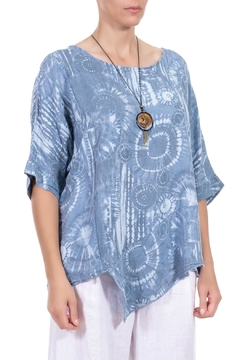 Angela Mara Denim Blue/White Linen Tunic - Alternate List Image