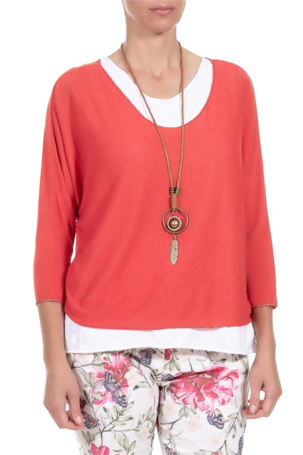 Angela Mara Flamenco Red Pullover With Necklace - Main Image