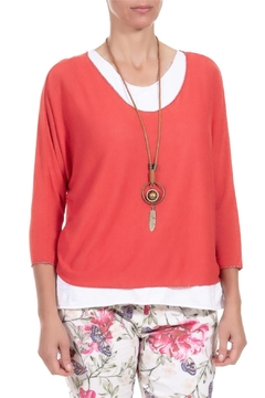Angela Mara Flamenco Red Pullover With Necklace - Alternate List Image