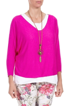 Angela Mara Flamingo Pink Pullover With Necklace - Alternate List Image
