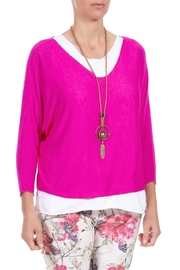 Angela Mara Flamingo Pink Pullover With Necklace - Product Mini Image