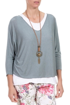 Angela Mara Kale Green Pullover With Necklace - Alternate List Image