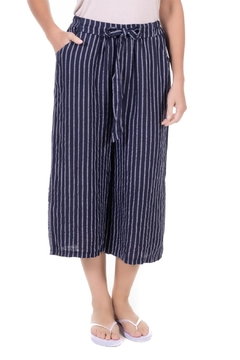 Angela Mara Navy Striped Linen Crop - Alternate List Image