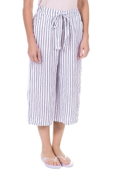 Angela Mara White Stripe Crop Pant - Alternate List Image