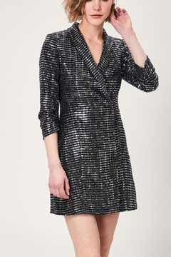 Angeleye London Black Silver Mirror Sequin Patterned Blazer Dress - Product List Image
