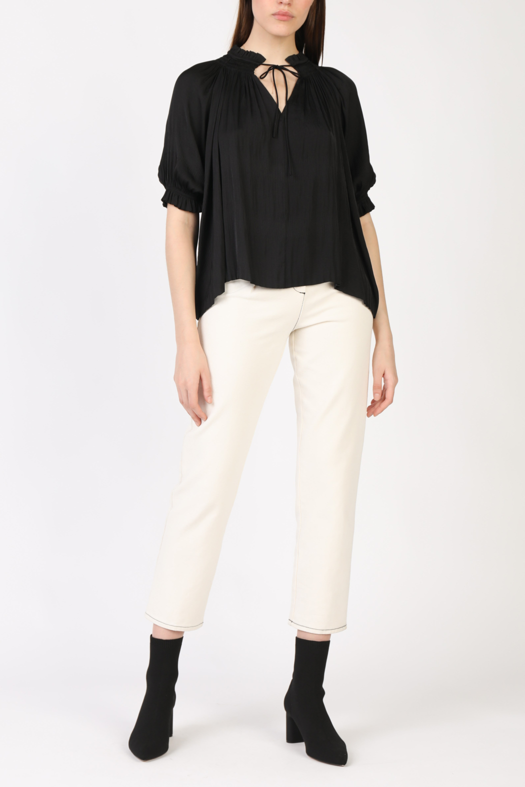 Current Air Angelic Pleated Blouse - Front Cropped Image
