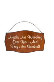 Rustic Ironwerks Angels Are Watching Sign - Front cropped