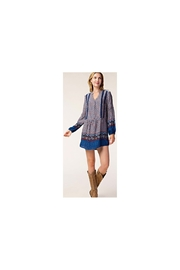 Angie blue floral dress/tunic with crochet trim - Product Mini Image