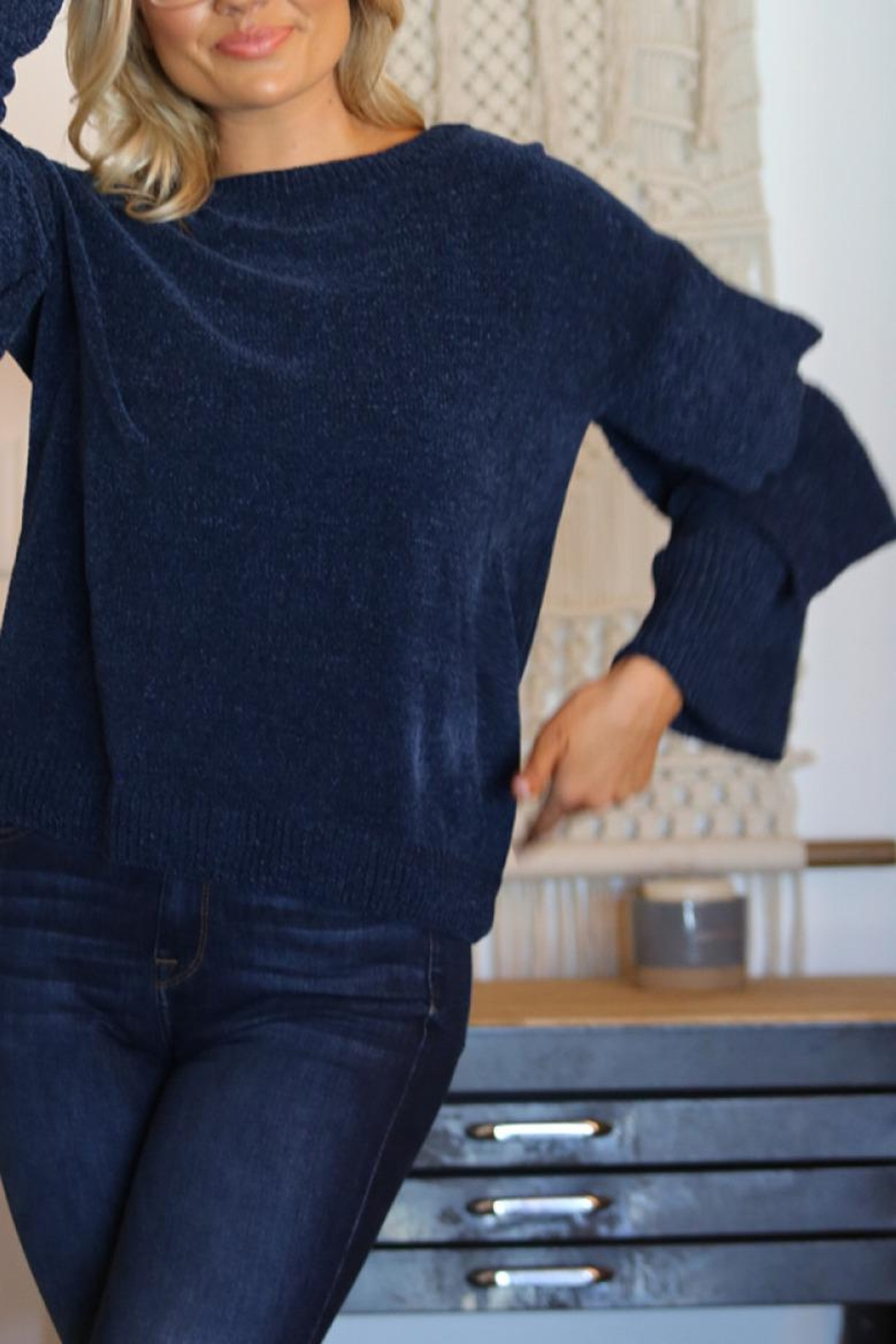 Angie Chenille Tiered Sleeve Sweater - Side Cropped Image