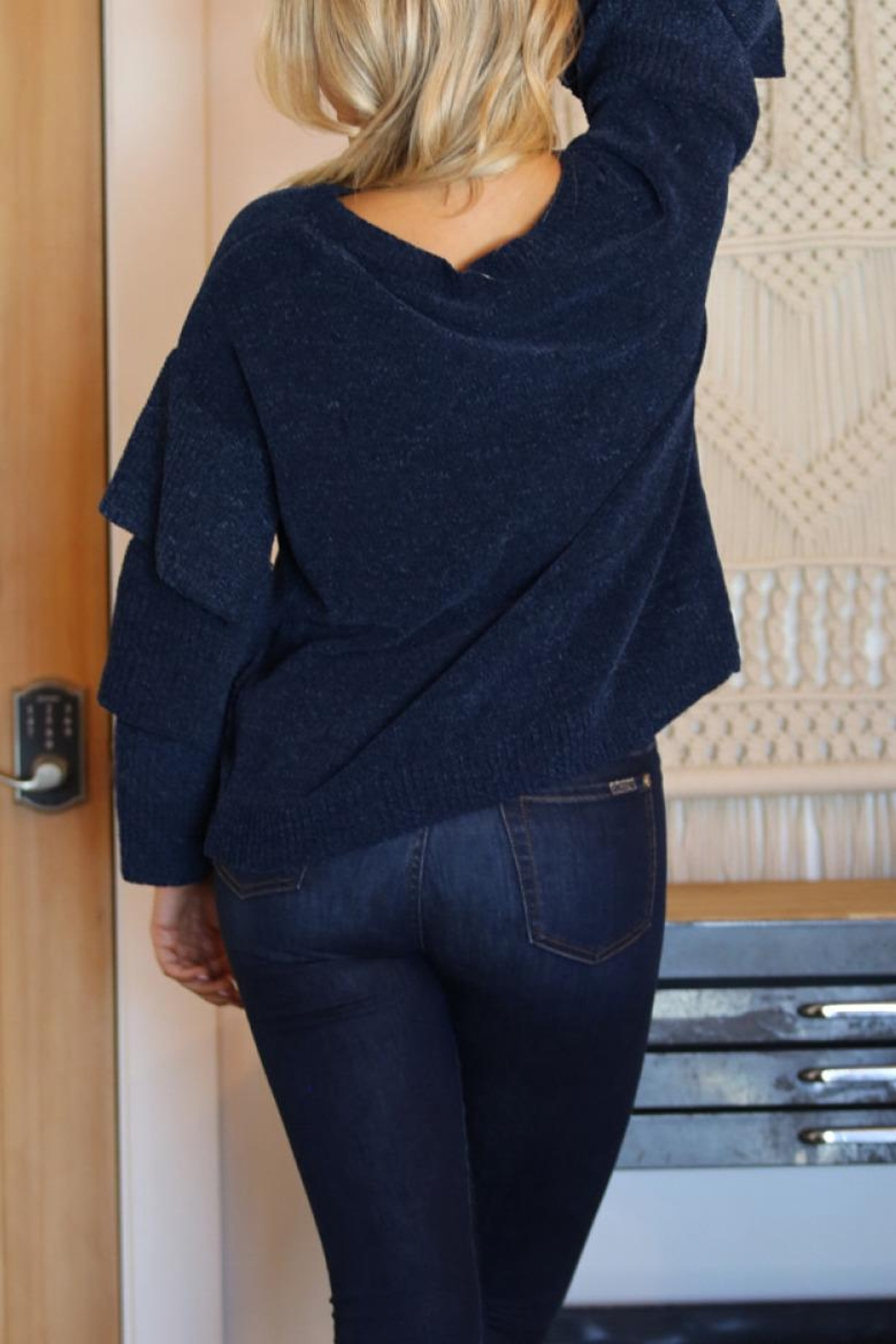 Angie Chenille Tiered Sleeve Sweater - Front Full Image