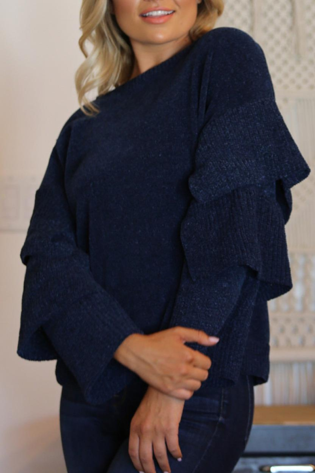Angie Chenille Tiered Sleeve Sweater - Main Image