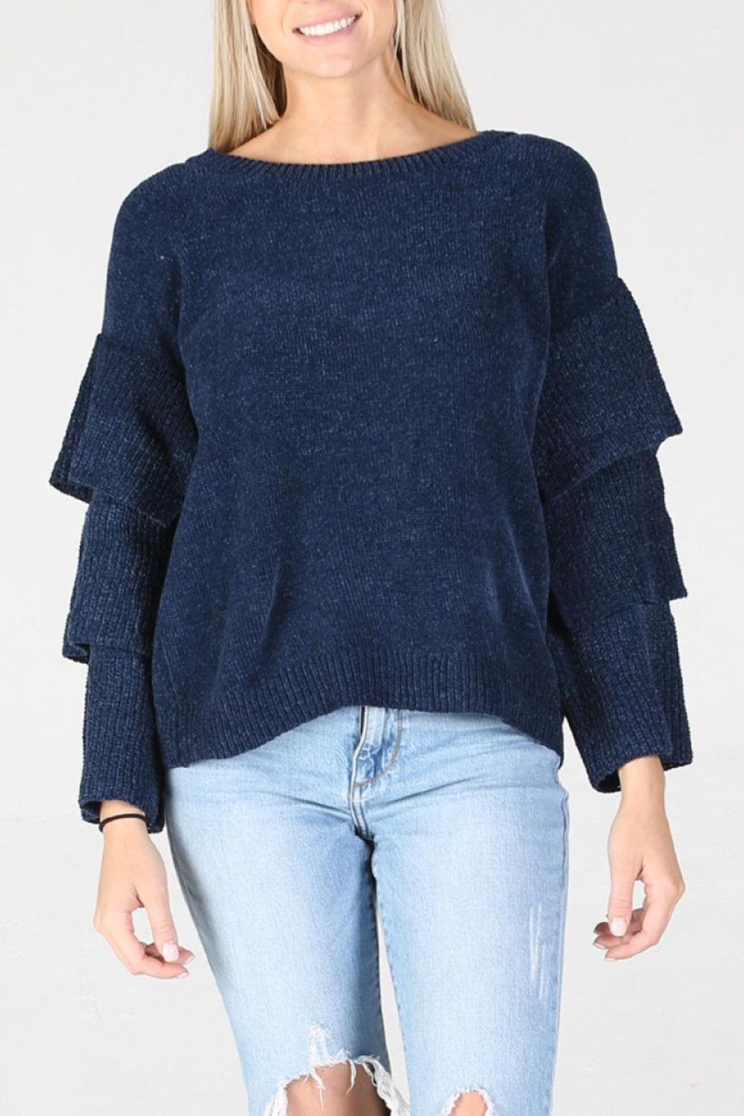Angie Chenille Tiered Sleeve Sweater - Back Cropped Image