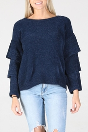 Angie Chenille Tiered Sleeve Sweater - Back cropped