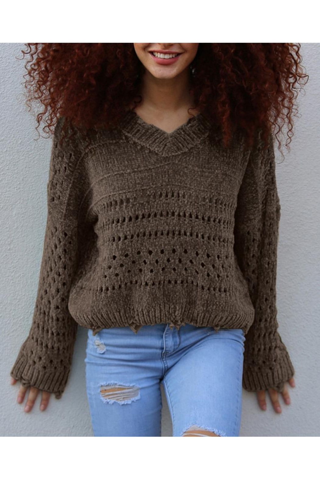 Angie Distressed Chenille Sweater - Main Image
