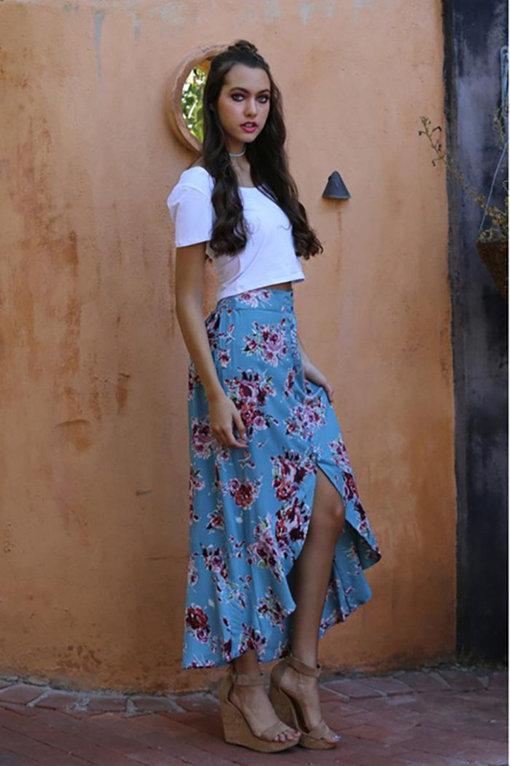 Angie Flowers Print Long Skirts Button Down High Waist - Front Full Image