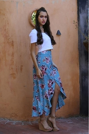 Angie Flowers Print Long Skirts Button Down High Waist - Front full body