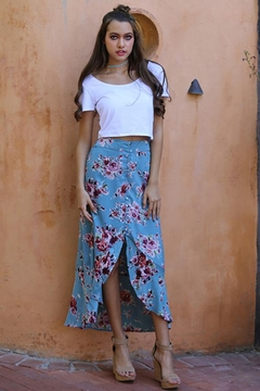 Angie Flowers Print Long Skirts Button Down High Waist - Product List Image