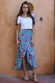 Angie Flowers Print Long Skirts Button Down High Waist - Product Mini Image