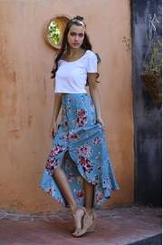 Angie Flowers Print Long Skirts Button Down High Waist - Other