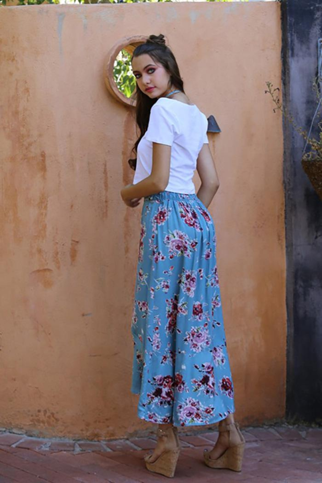 Angie Flowers Print Long Skirts Button Down High Waist - Side Cropped Image