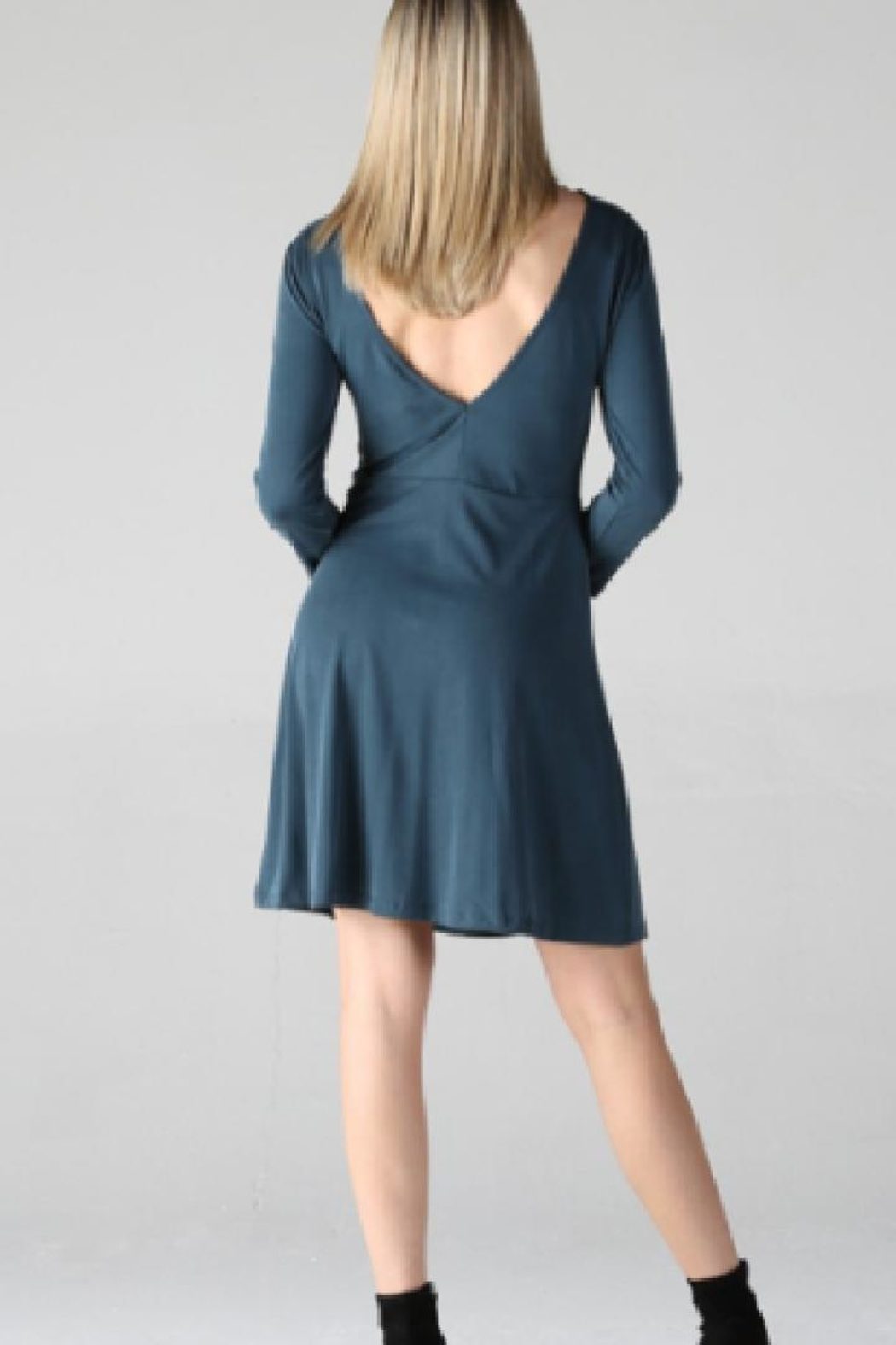 Angie Long-Sleeve Skater Dress - Side Cropped Image