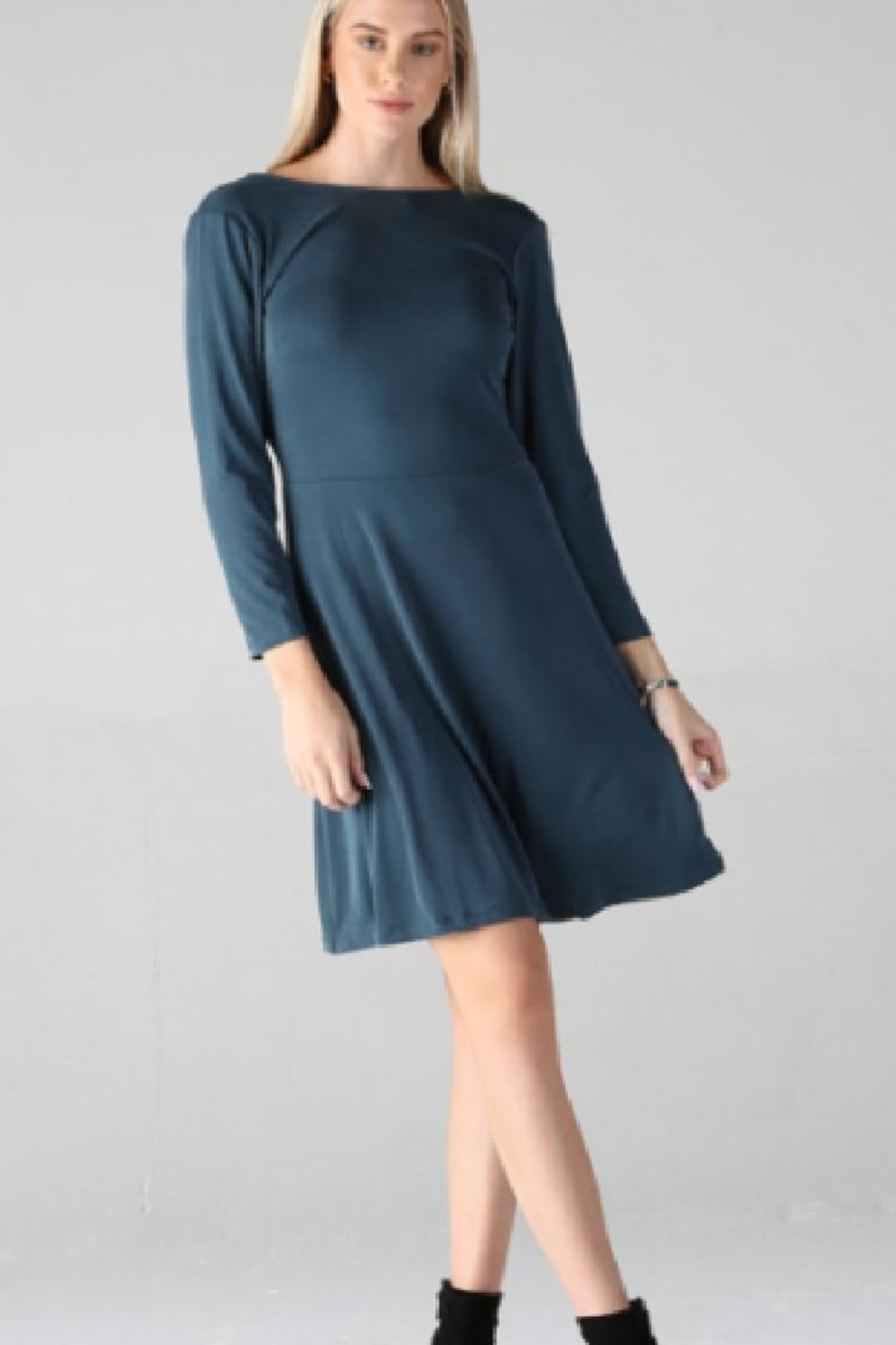Angie Long-Sleeve Skater Dress - Main Image