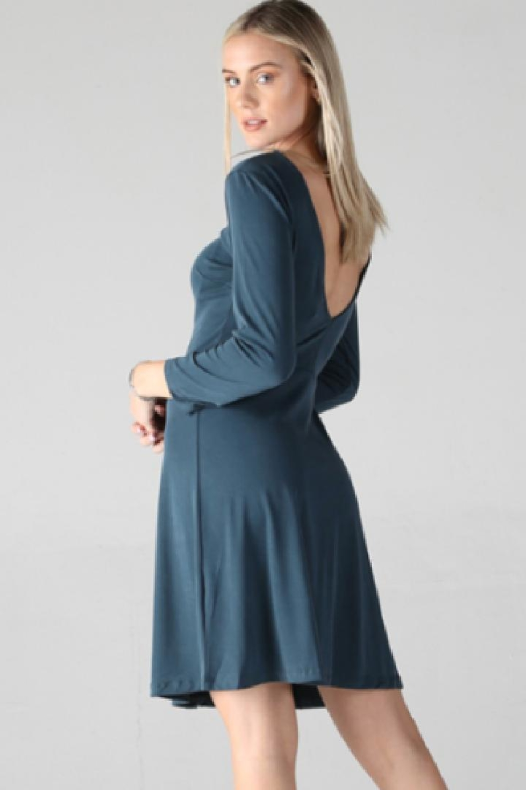 Angie Long-Sleeve Skater Dress - Front Full Image