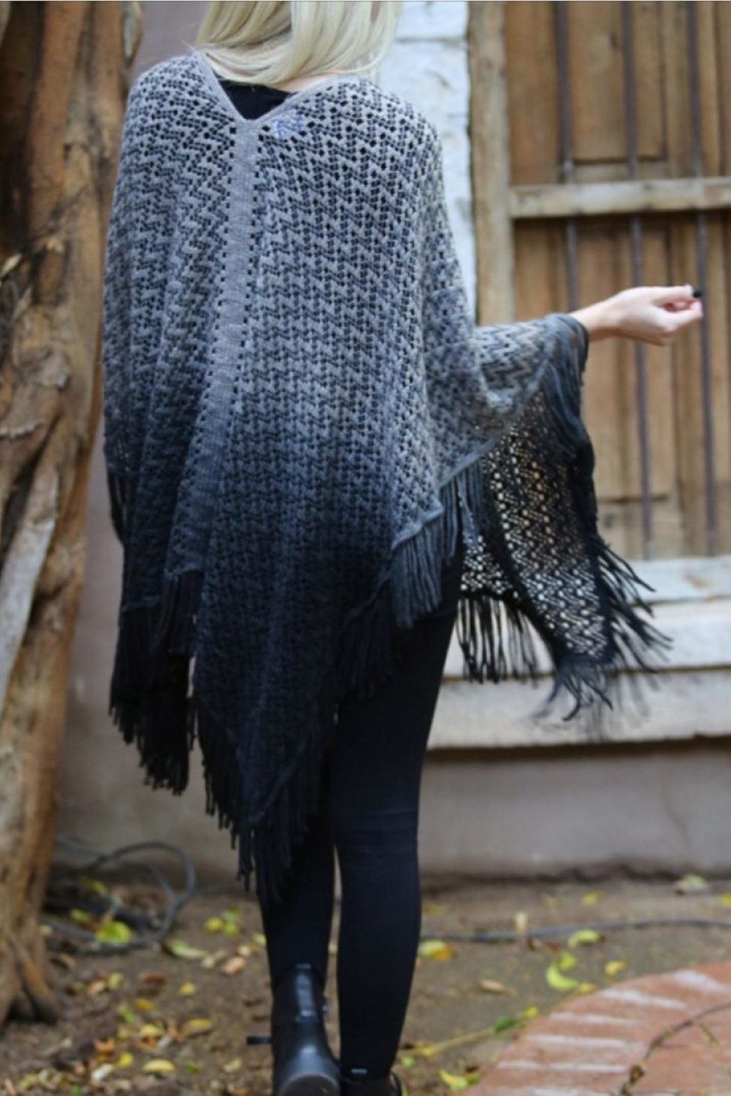 Angie Ombre Fringe Poncho - Front Full Image