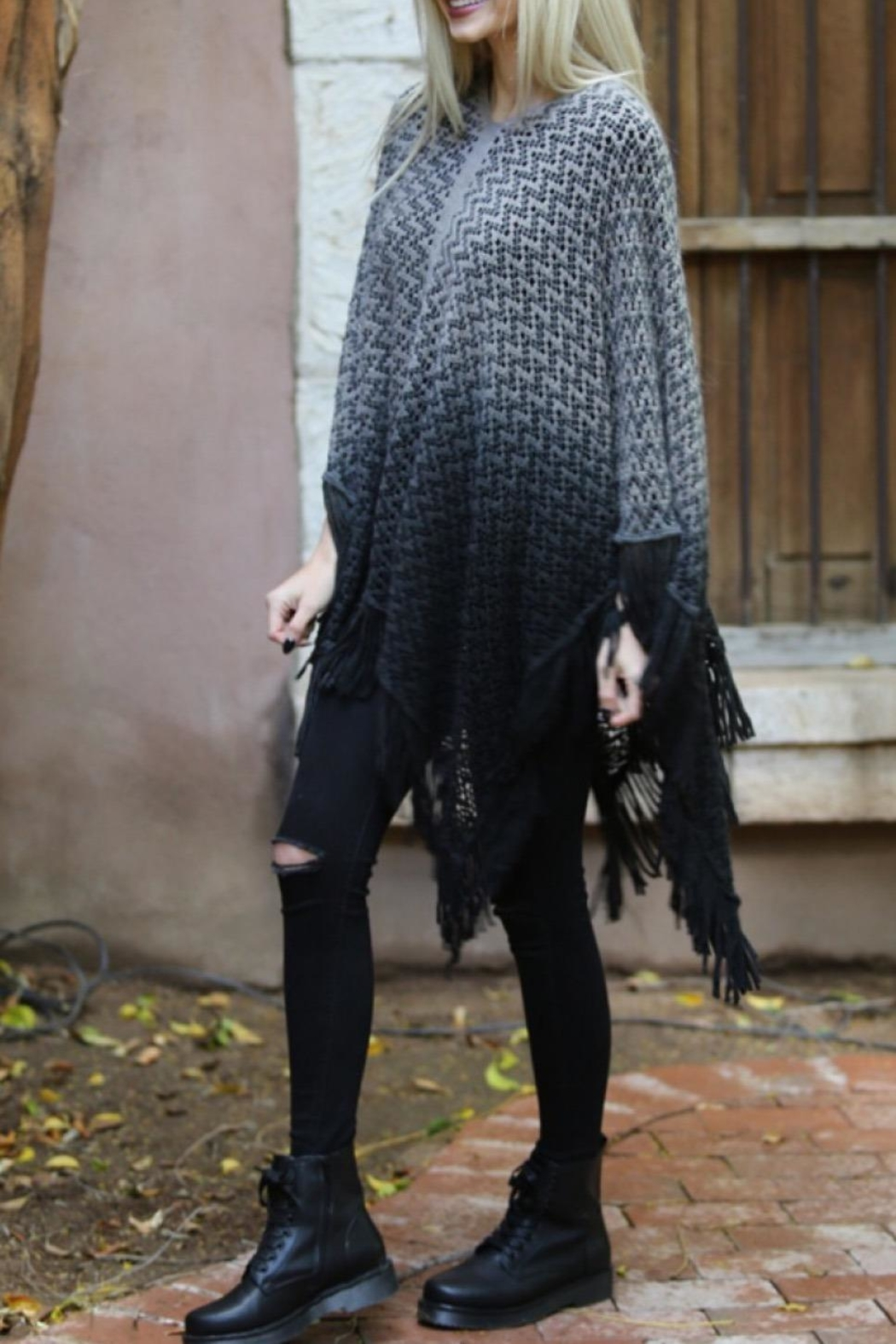 Angie Ombre Fringe Poncho - Side Cropped Image