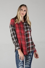 Angie Plaid Button Up Top With Fringe - Back cropped
