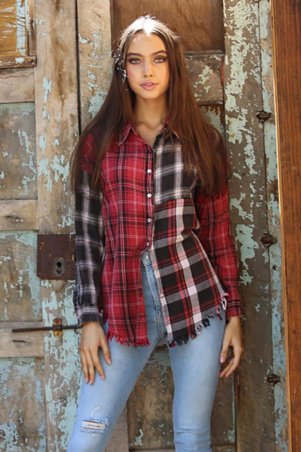Angie Plaid Button Up Top With Fringe - Main Image