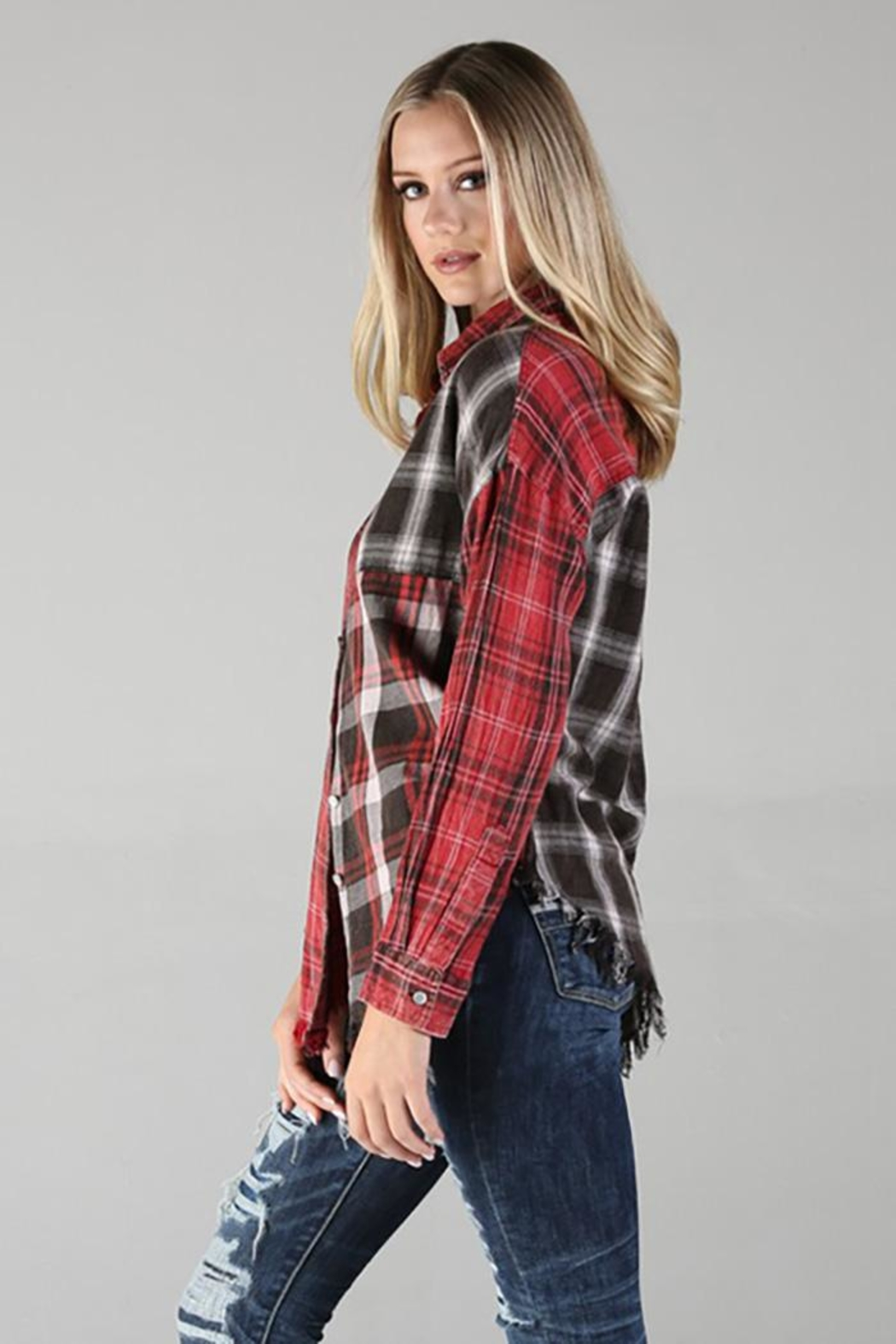 Angie Plaid Button Up Top With Fringe - Side Cropped Image