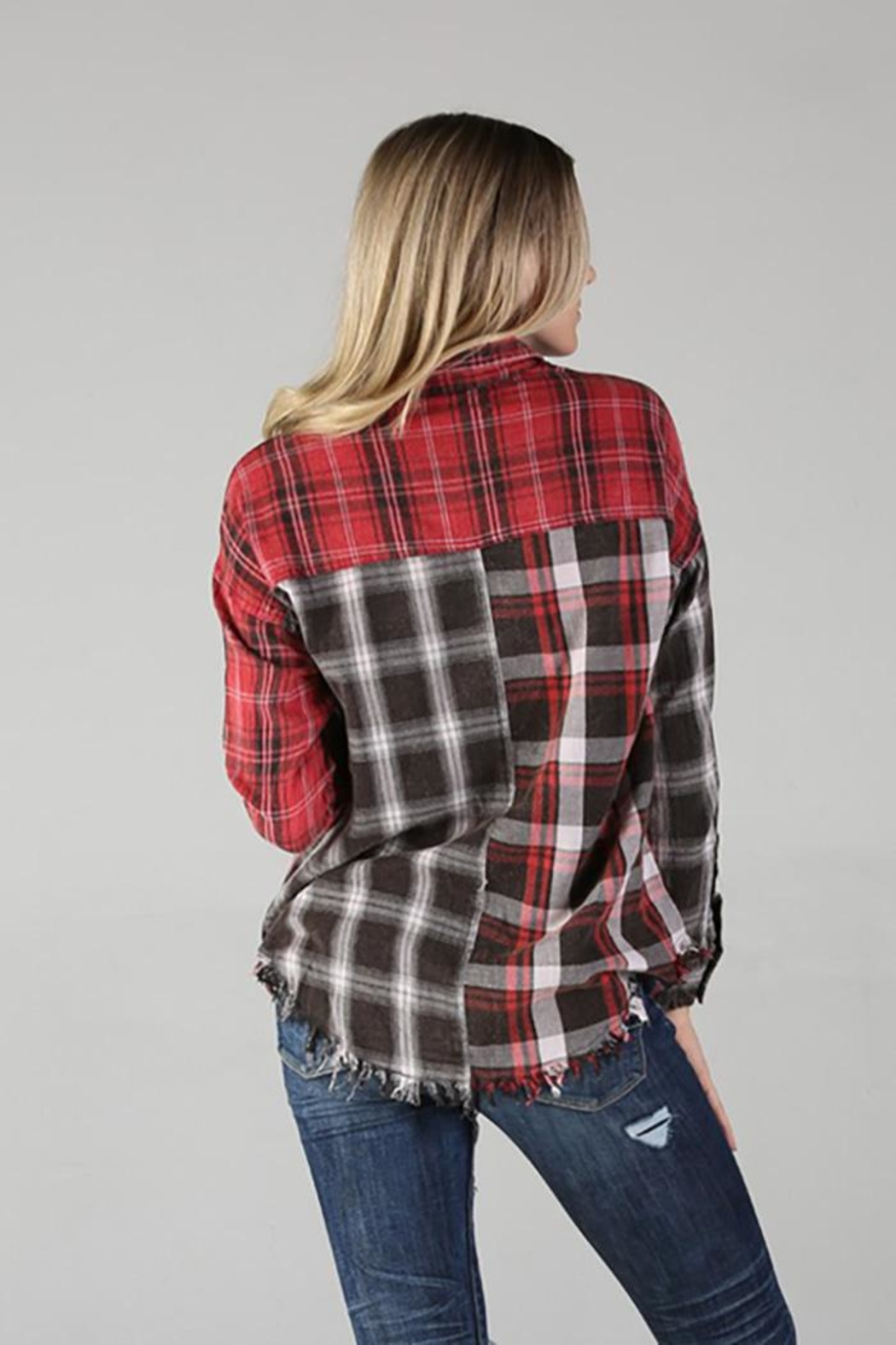 Angie Plaid Button Up Top With Fringe - Front Full Image