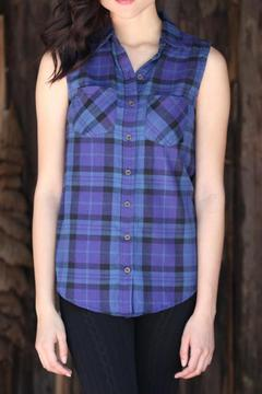 Shoptiques Product: Plaid Sleeveless Button Up